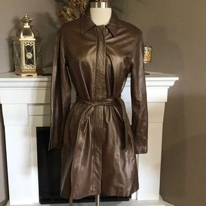 Vintage Express Bronze Leather Trench Coat